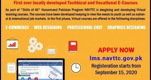 NAVTTC Virtual learning courses admission Online Apply