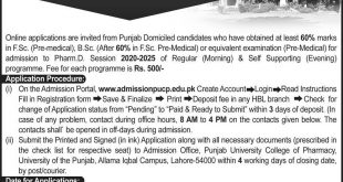 Punjab University College of Pharmacy (PUCP) Pharma D Admission 2020