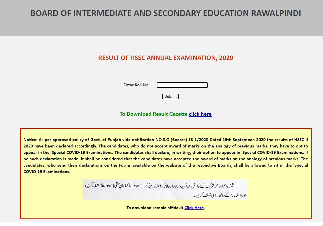 BOARD OF INTERMEDIATE AND SECONDARY EDUCATION RAWALPINDI RESULT OF HSSC ANNUAL EXAMINATION, 2020