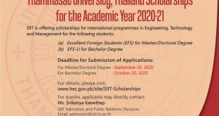 Sirindhorn International Institute of Technology (SIIT), Thammasat University, Thailand Scholarships for the Academic Year 2020-21