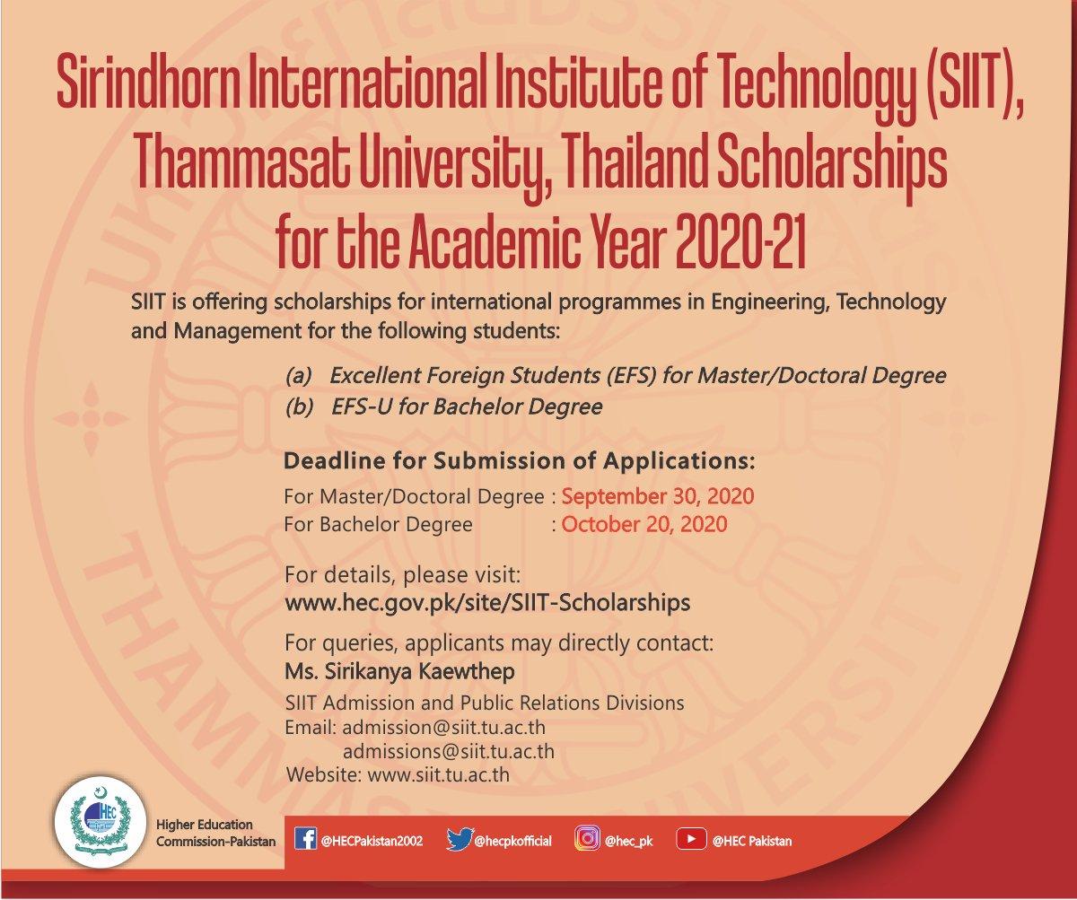 Sirindhorn International Institute of Technology (SIIT), Thammasat University, Thailand Scholarships for the Academic Year 2020-21