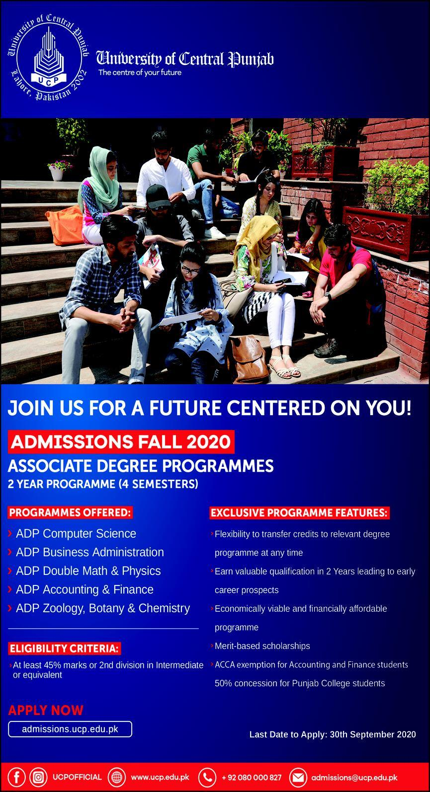 The University of Central Punjab admission2020
