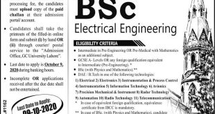 GC University Lahore B.Sc Electrical Engineering Admissions 2020