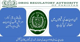 Drug Regulatory Authority (DRAP) Prices of 94 life-saving drugs