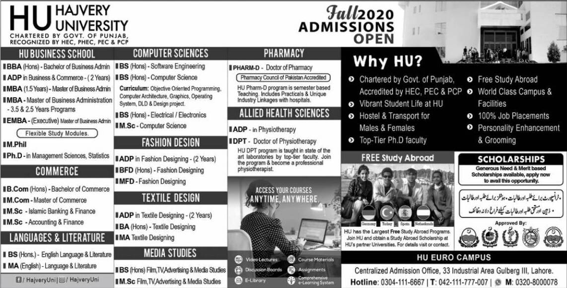 HAJVERY UNIVERSITY ADMISSION FALL 2020