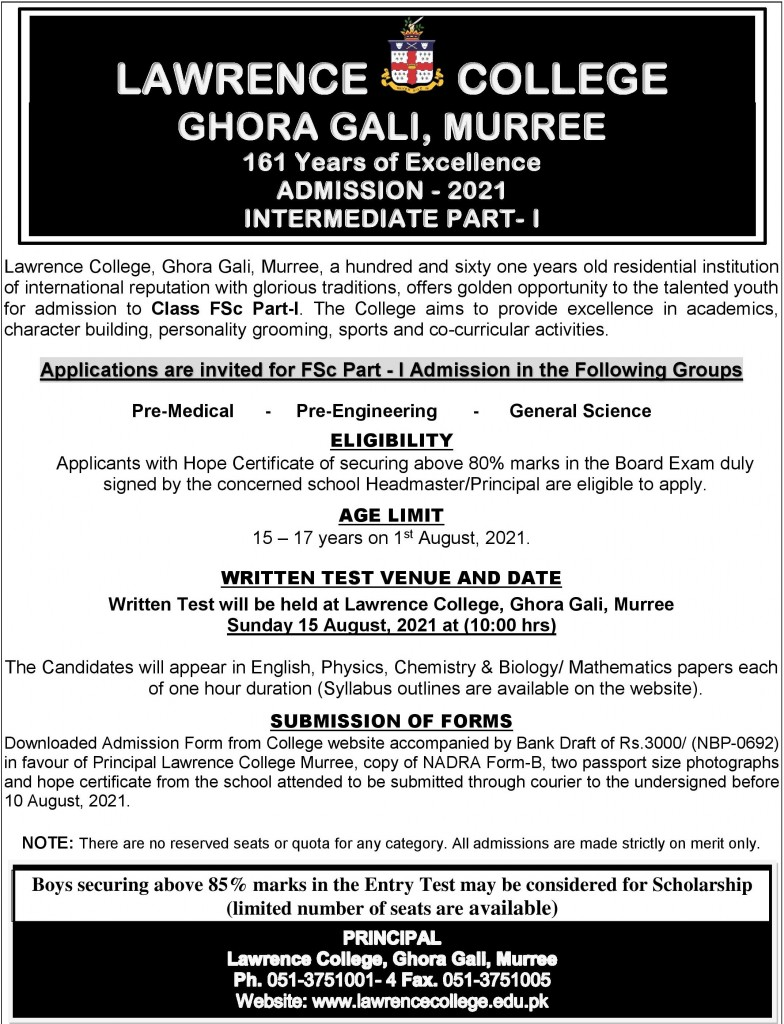Lawrence College Ghora Gali Murree 1st Year admission 2021
