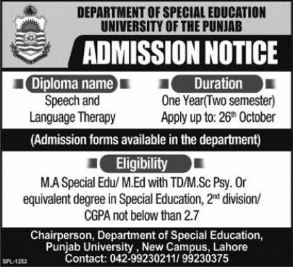 UNIVERSITY OF THE PUNJAB DEPARTMENT OF SPECIAL EDUCATION ADMISSION 2020
