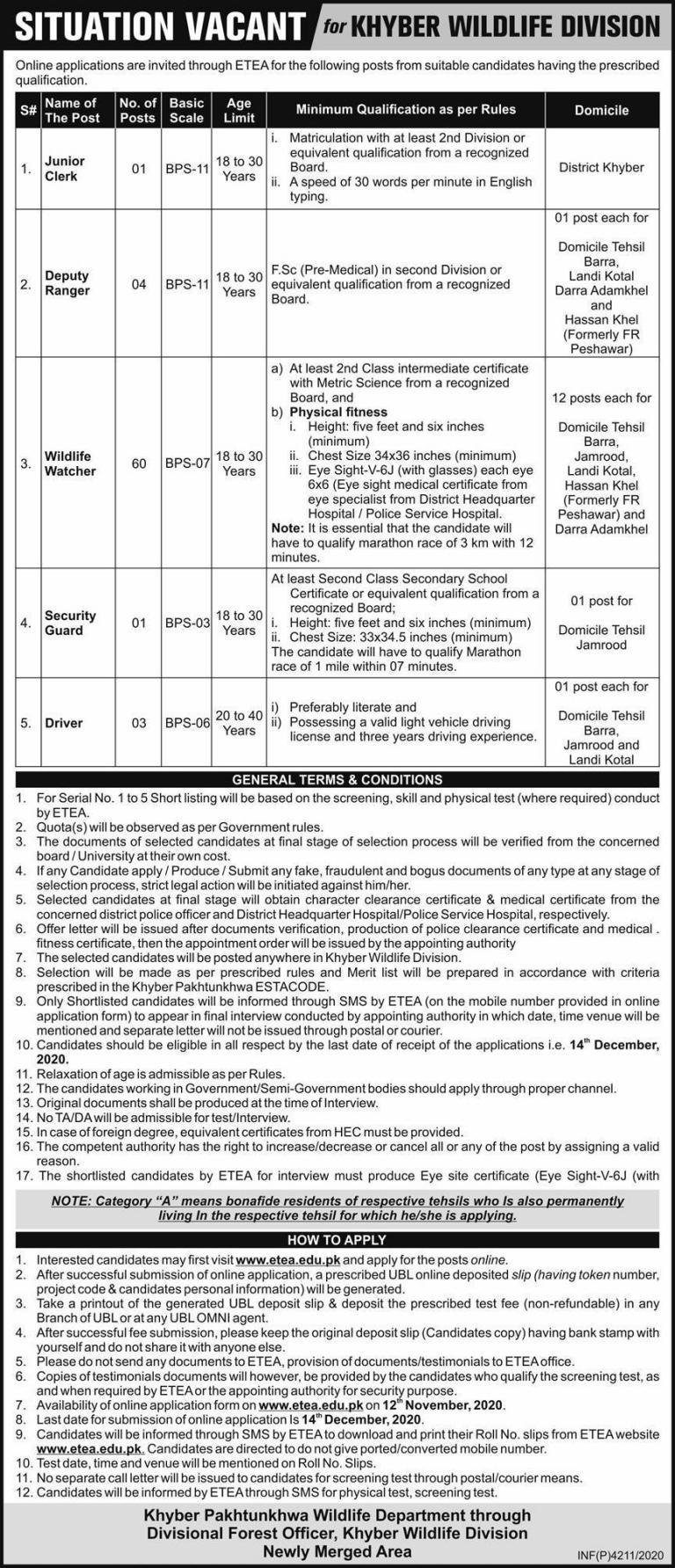 Khyber Pakhtunkhwa Wildlife Department ETEA Jobs November 2020