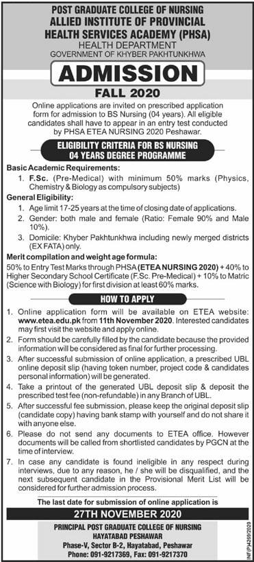 PGCN Hayatabad Peshawar BS Admission Fall 2020