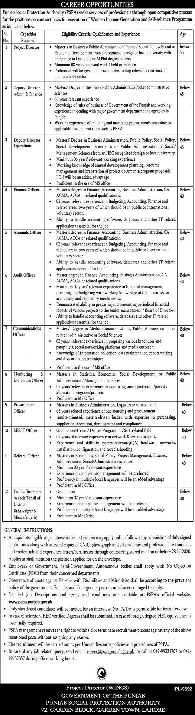 Punjab Social Protection Authority (PSPA) Jobs 11th November 2020