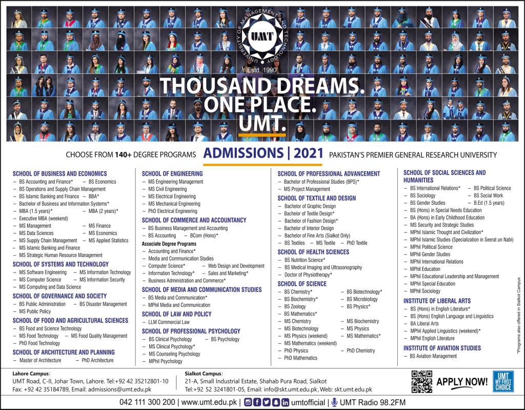 UMT Undergraduate Programs Admission 2021