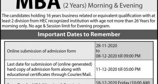 University of the Punjab Hailey College of Banking & Finance Admission 2020