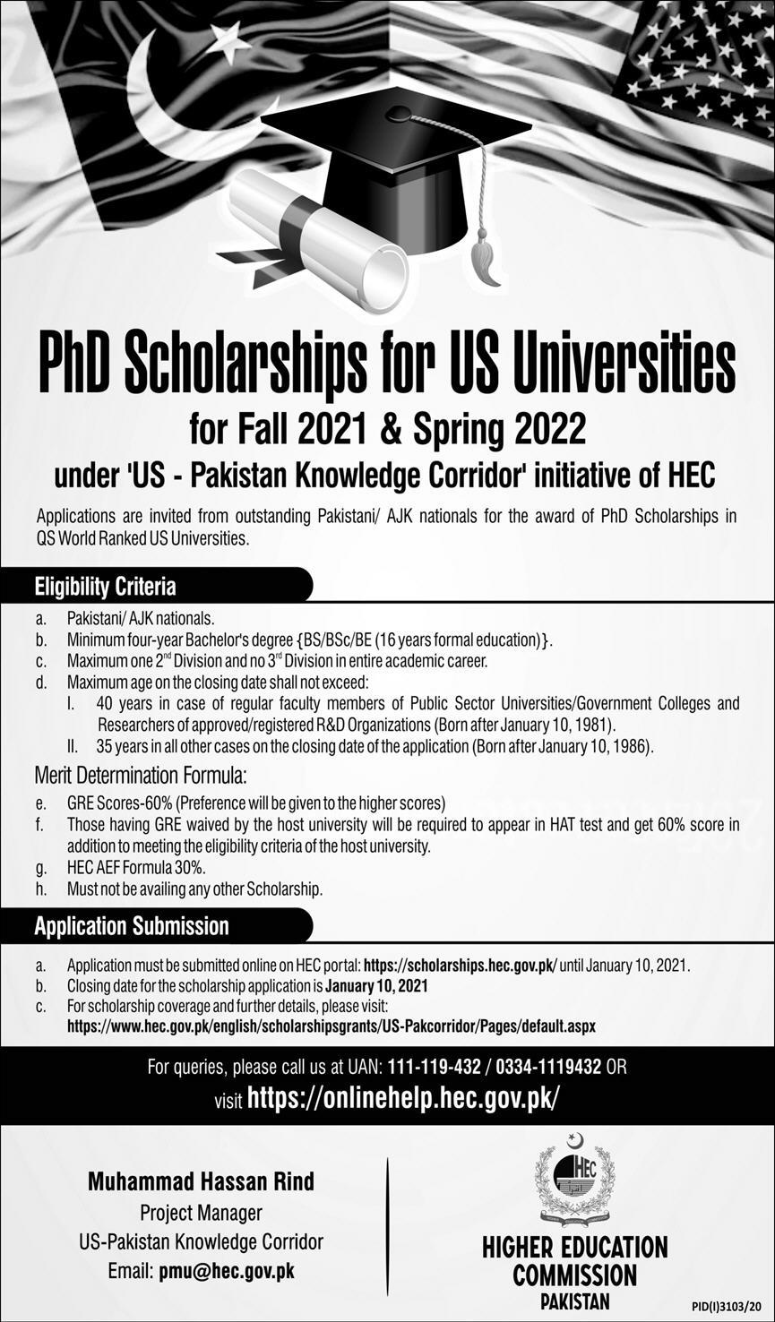 Higher Education Commission (HEC) Ph.D. Scholarships for US Universities