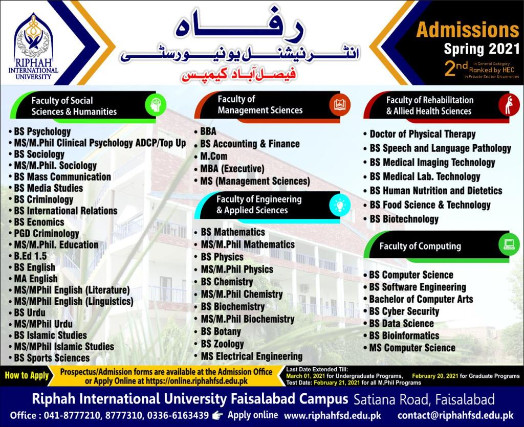 Riphah Internal University Admission Spring 2021