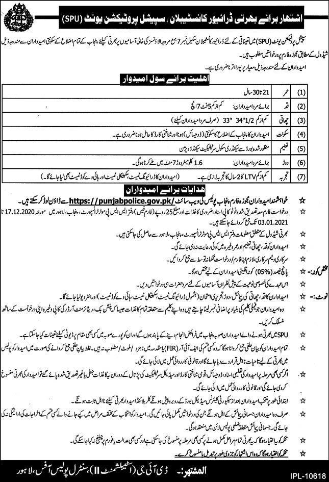 Punjab Police SPU Jobs 15th December 2020
