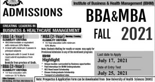 DOW UNIVERSITY OF HEALTH SCIENCES Institute of Business & Health Management (IBHM) ADMISSIONS