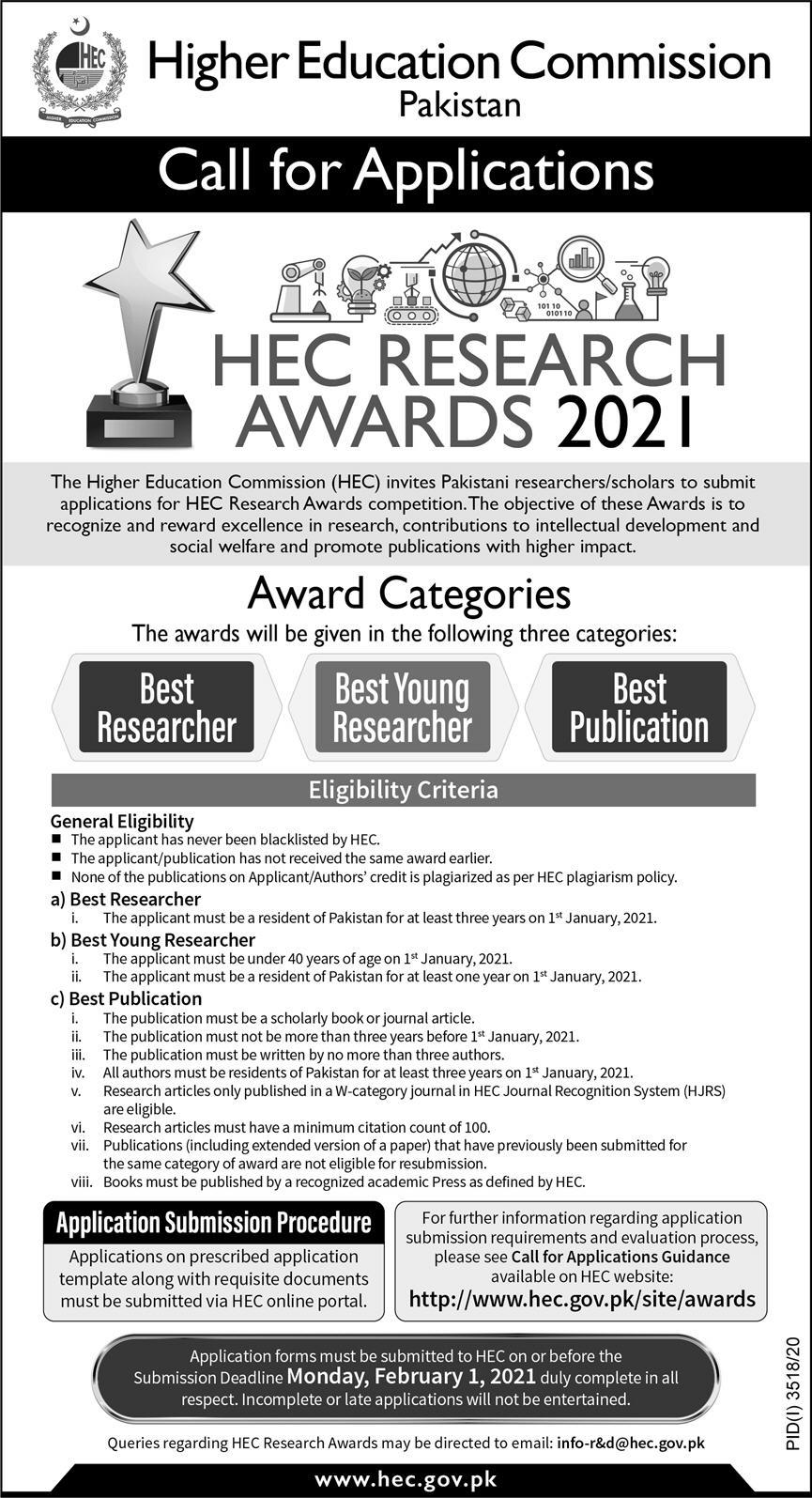 Higher Education Commission (HEC) Research Awards competition 2021