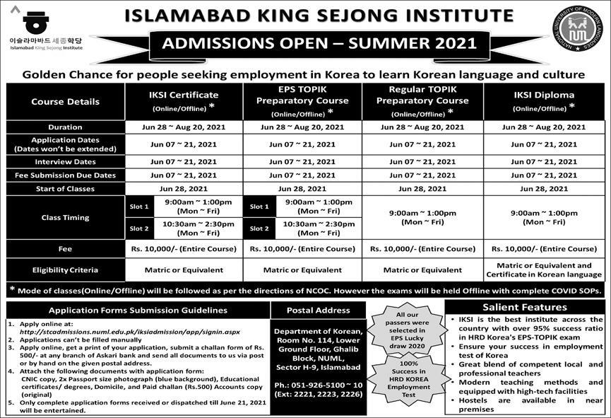 ISLAMABAD KING SEJONG INSTITUTE ADMISSIONS SUMMER 2021