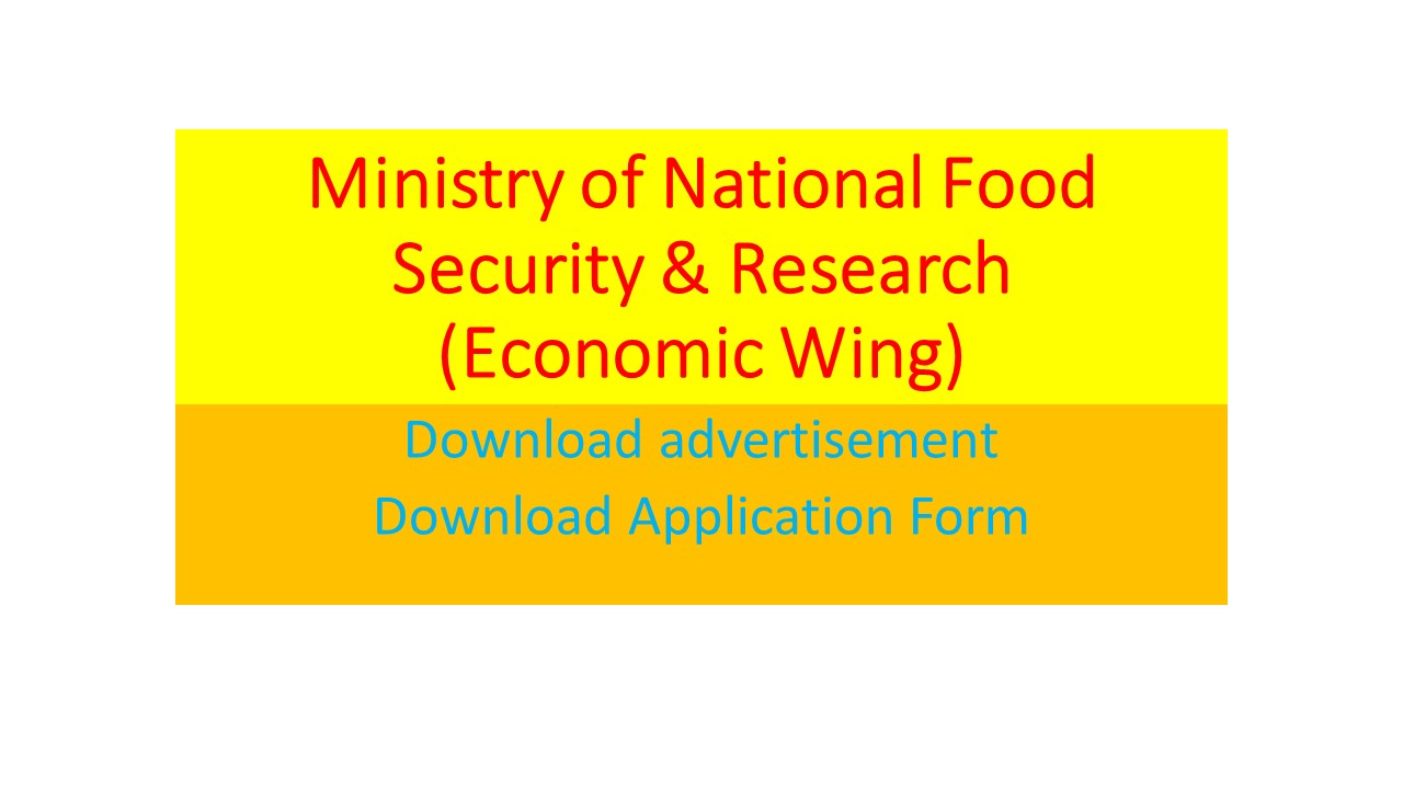 National Food Security and Research(MNFSR)Jobs 12th January 2021