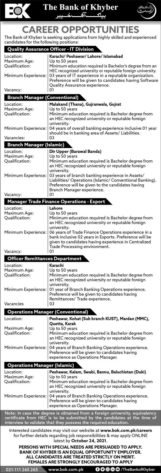 The Bank of Khyber Jobs 10th October 2021