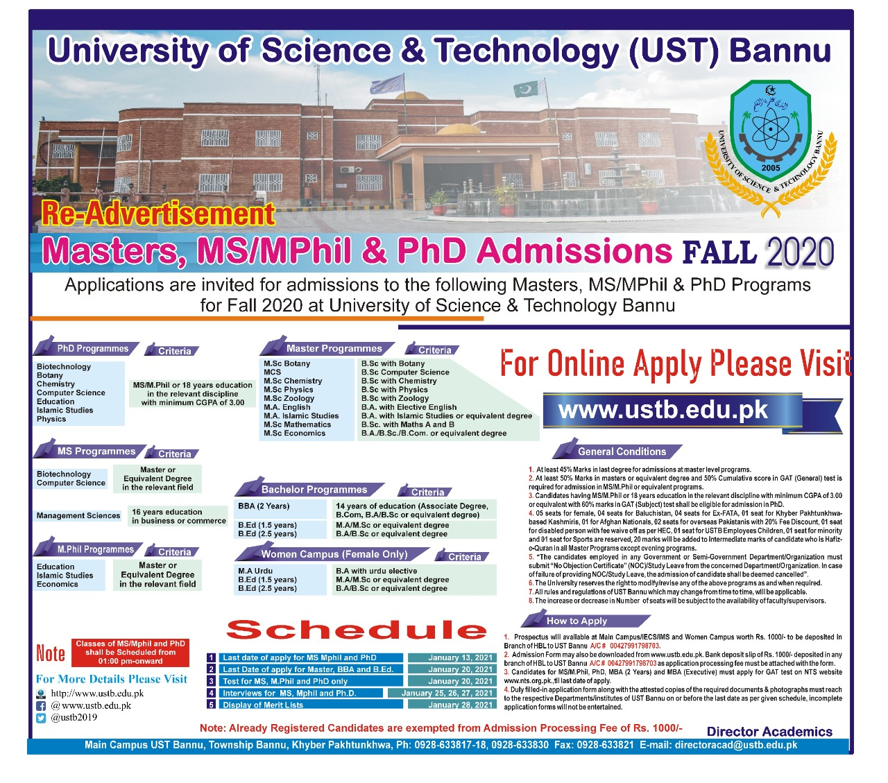 UST Bannu MS/M.Phil & PhD Admissions Fall 2020