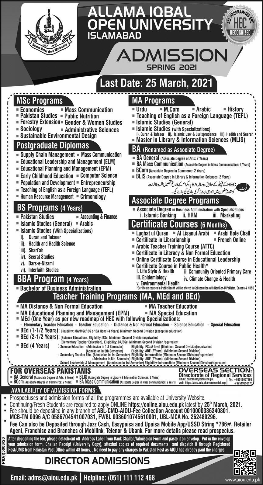AIOU Matric Inter and Diploma Certificate (Phase I) Admission Spring 2021