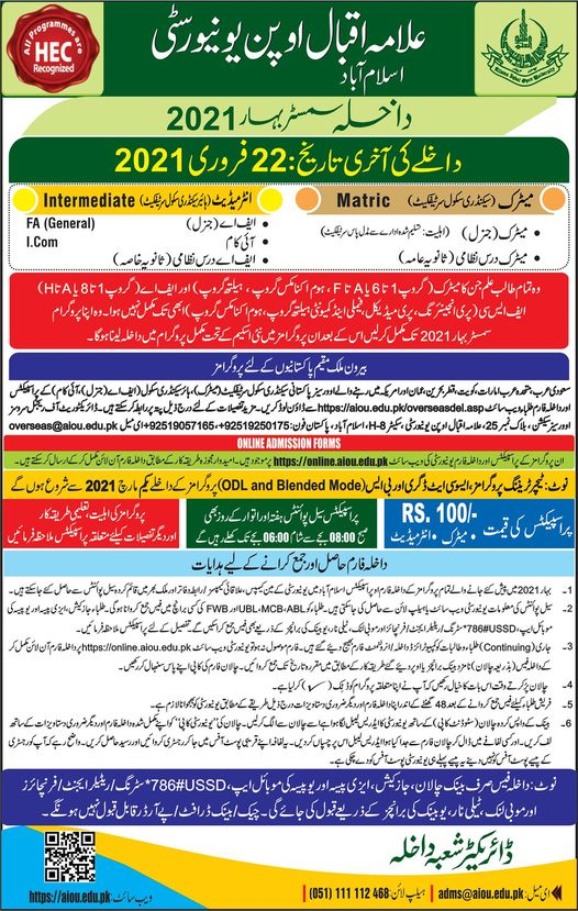 AIOU Matric to the PhD Admission Spring 2021 Advertisement, Courses