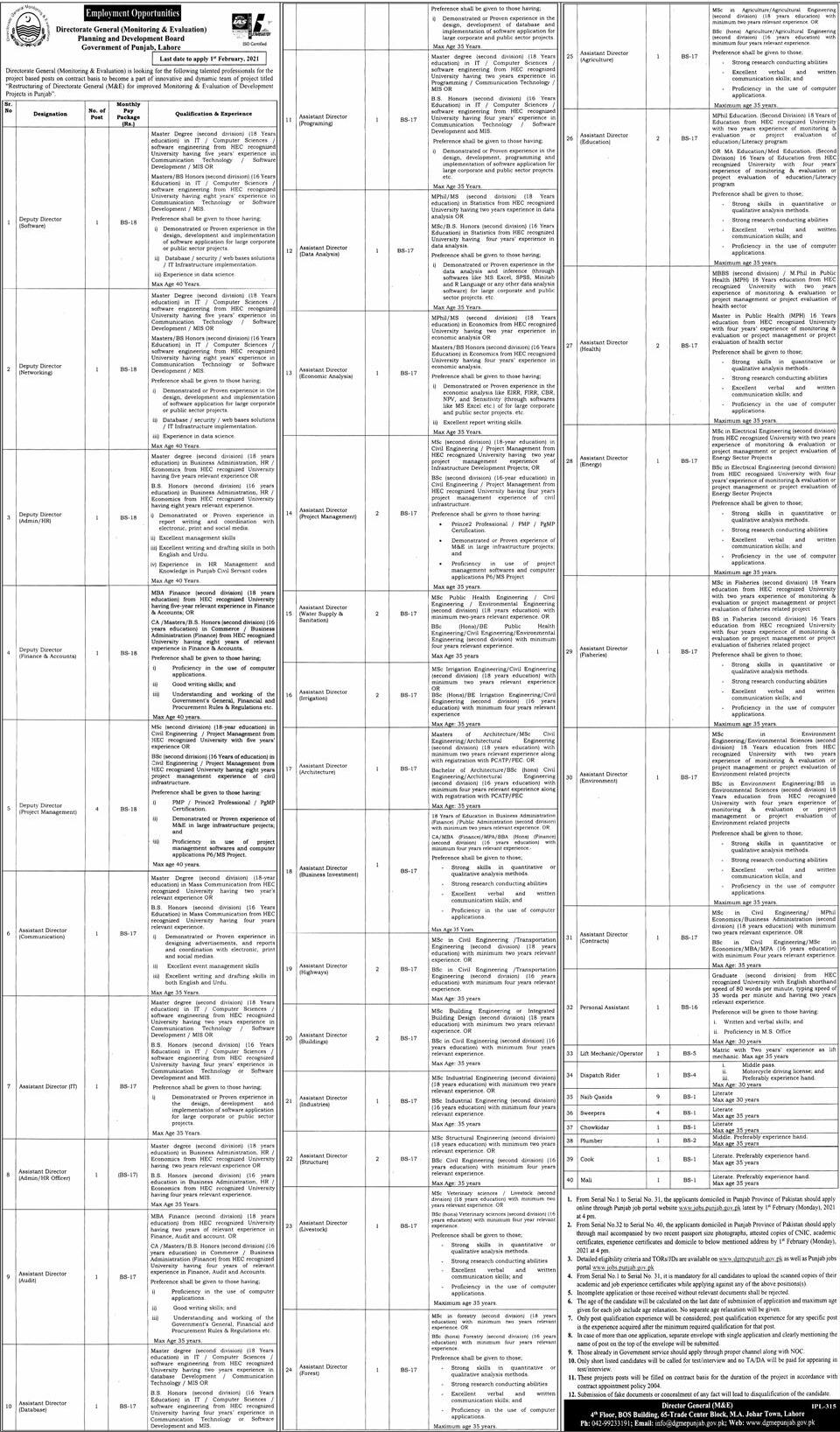 Director General (Monitoring & Evaluation) Planning and Development board Jobs