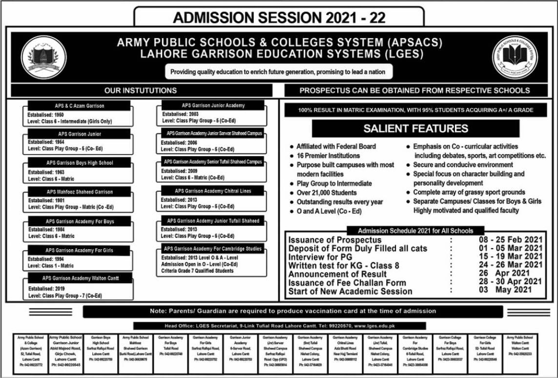 ARMY PUBLIC SCHOOLS & COLLEGES SYSTEM (APSACS) LAHORE GARRISON EDUCATION SYSTEMS (LGES) ADMISSION 2021