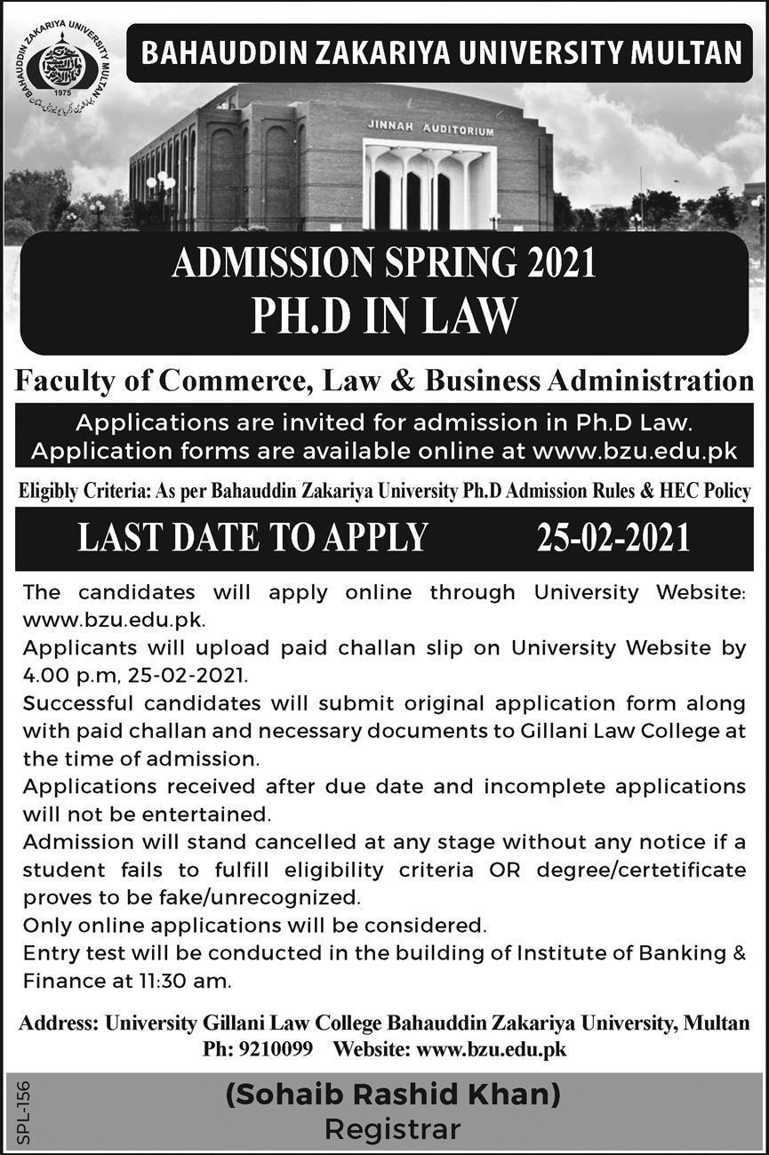BZU Ph.D. Law Admission 2021