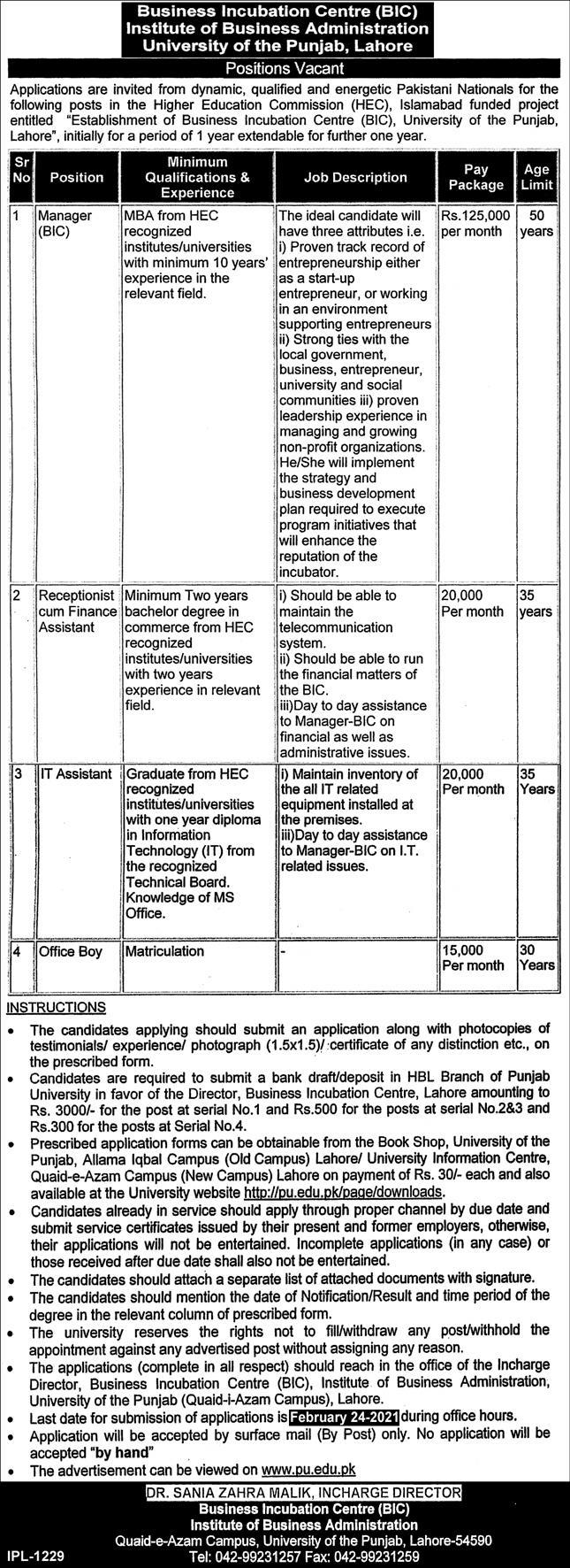 Business Incubation Centre (BIC) Institute of Business Administration University of the Punjab Lahore Jobs 2021