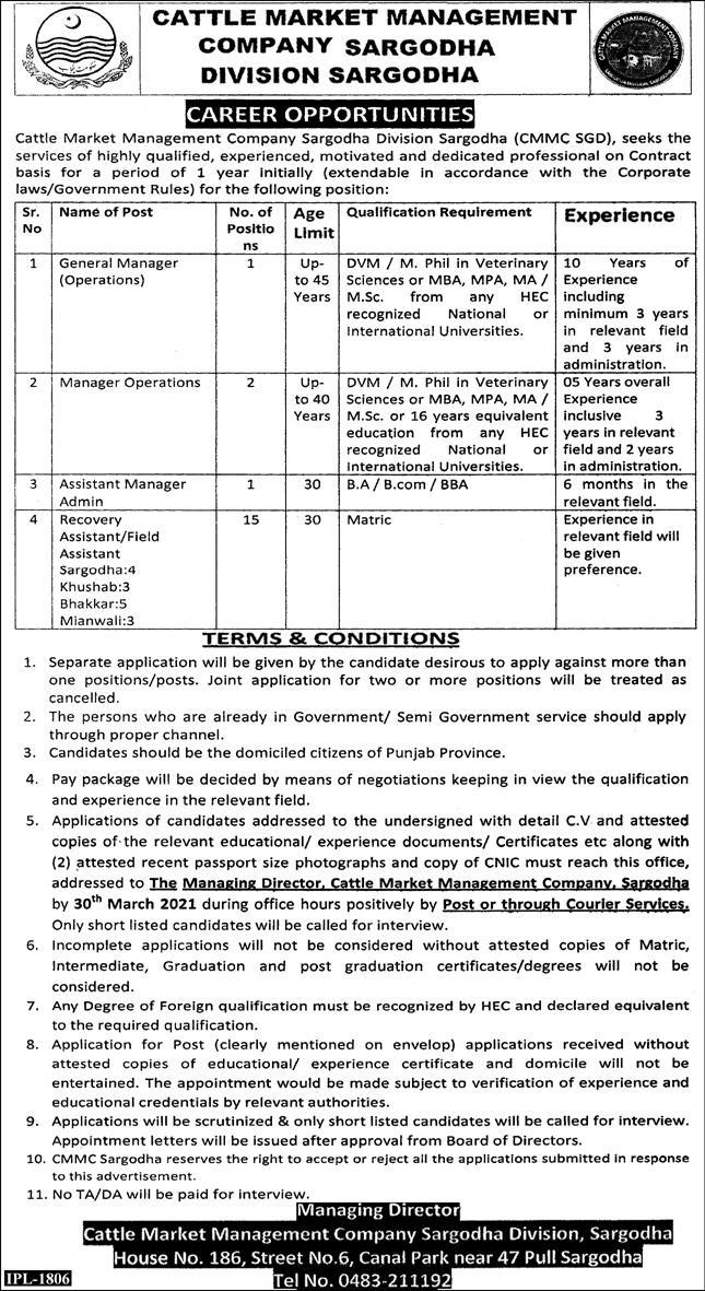 Cattle Market Management Company Sargodha Division Sargodha (CMMC SGD) Jobs 2021