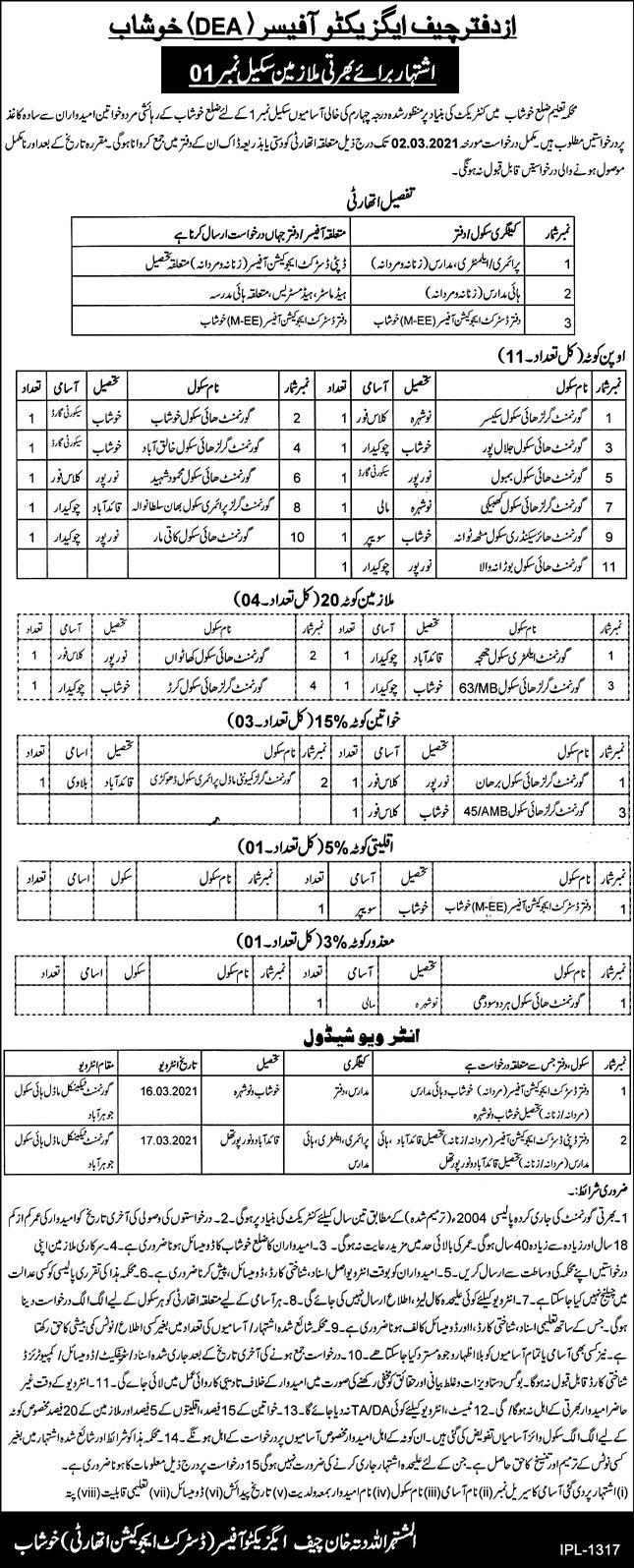 District Education Authority (DEA) Khushab Jobs 11th February 2021