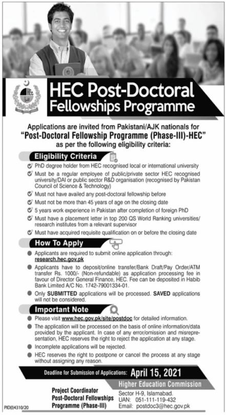 HEC Post-Doctoral Fellowships Programme
