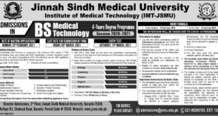 Jinnah Sindh Medical University Institute of Medical Technology (IMT-JSMU)Admission
