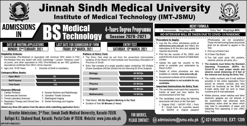 Jinnah Sindh Medical University Institute of Medical Technology (IMT-JSMU)Admission