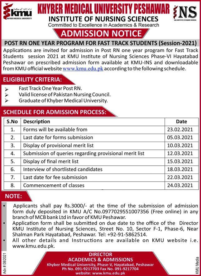 KMU Post RN one-year program Admission 2021
