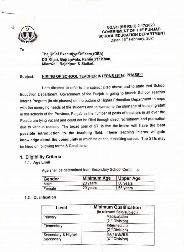 Punjab School Teacher Interns Program
