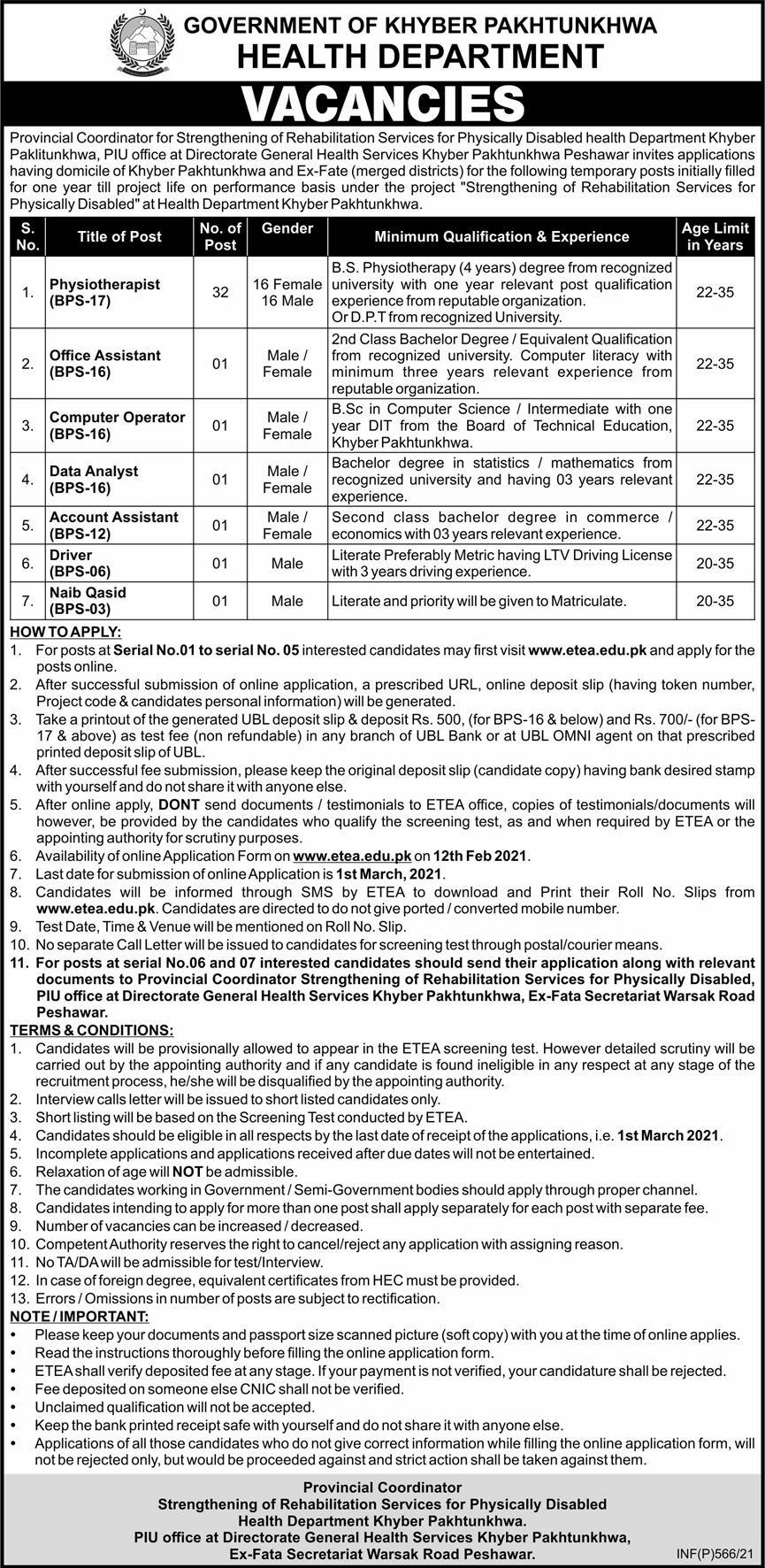 Health Department Khyber Paklitunkhwa Jobs