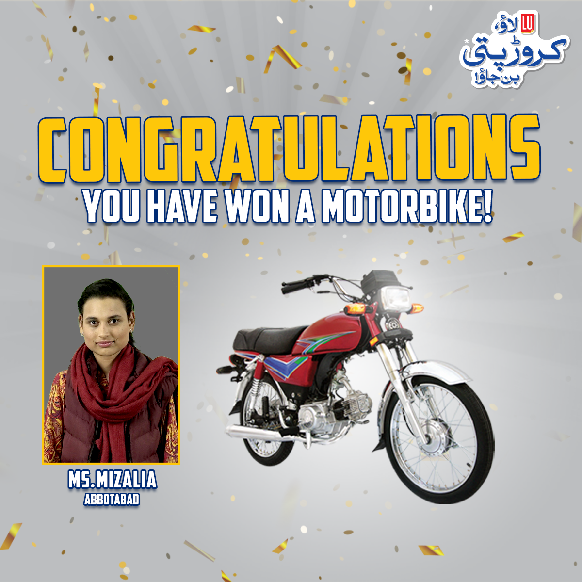 lu biscuits 3rd lucky draw Motorcycle winner 1st March 2021