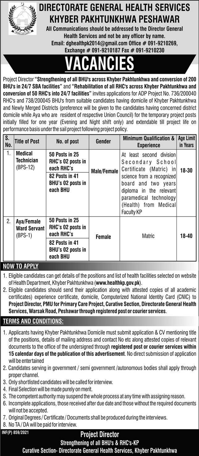 Health Department KP RHC & BHU Jobs 20th February 2021