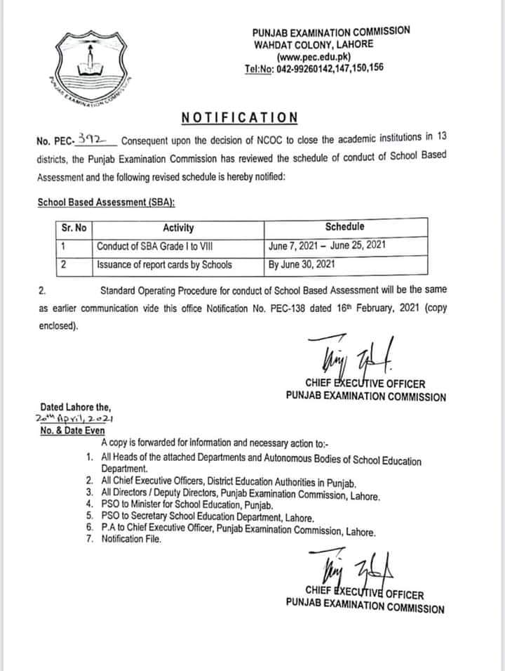 Revised Schedule for Conduct of School Based Assessment (SBA) 2021 for Grade 1 to 8