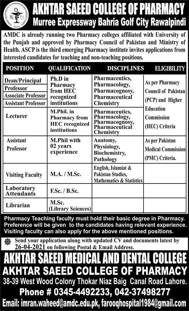 Akhtar Saeed Medical & Dental College (AMDC) Admission 2021