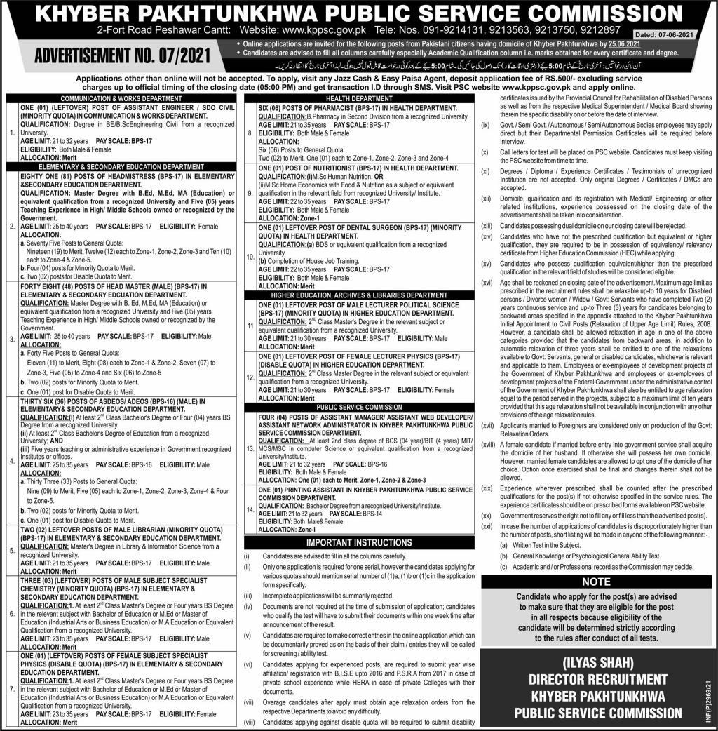 Khyber Pakhtunkhwa Public Service Commission (KPPSC) Jobs 10th June 2021