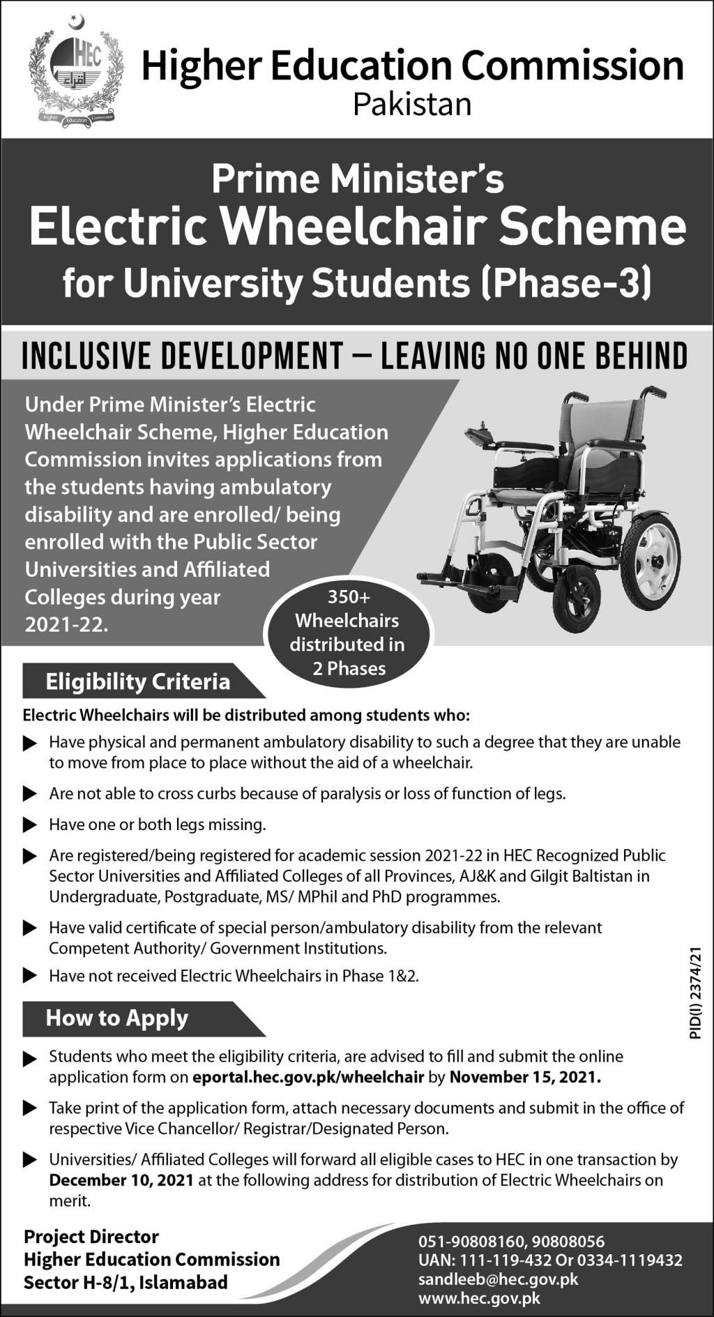 Prime Minister's Electric Wheelchair Scheme for University Students (Phase-3)