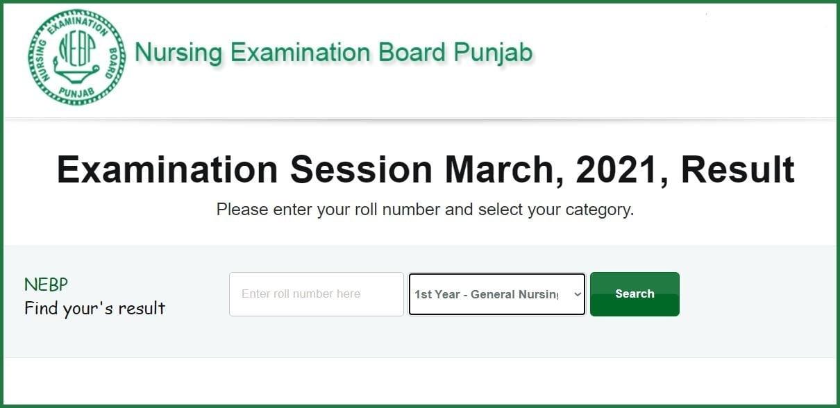 Nursing Examination Board Punjab (NEBP) Nursing Examination Result 2021