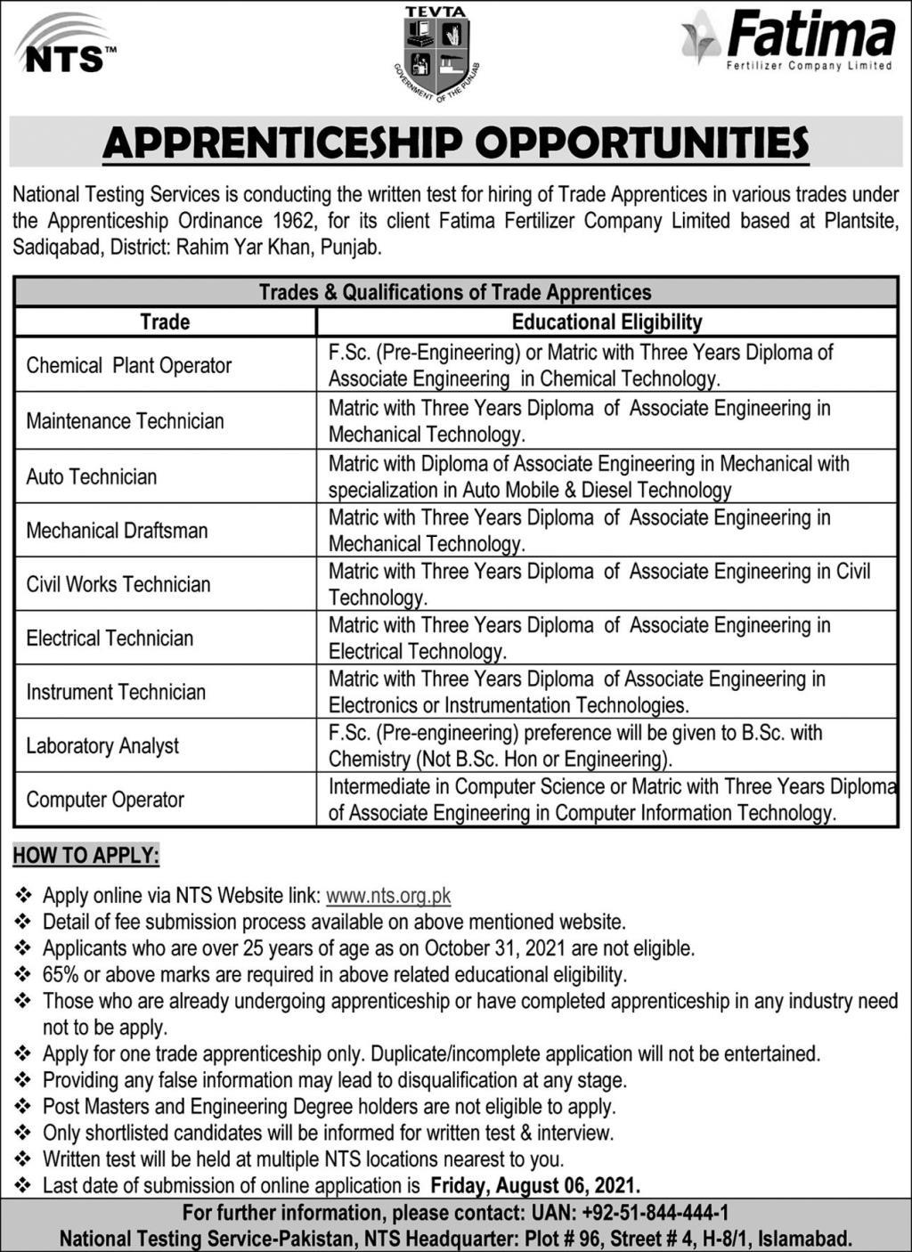 Fatima Fertilizer Company Limited Apprenticeship 2021