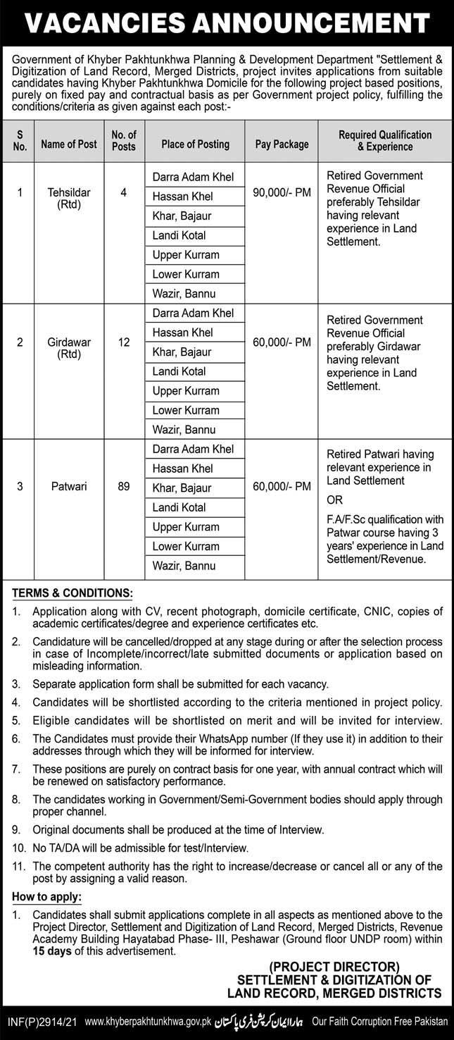 KP Land Record Merged Districts Jobs 5th June 2021