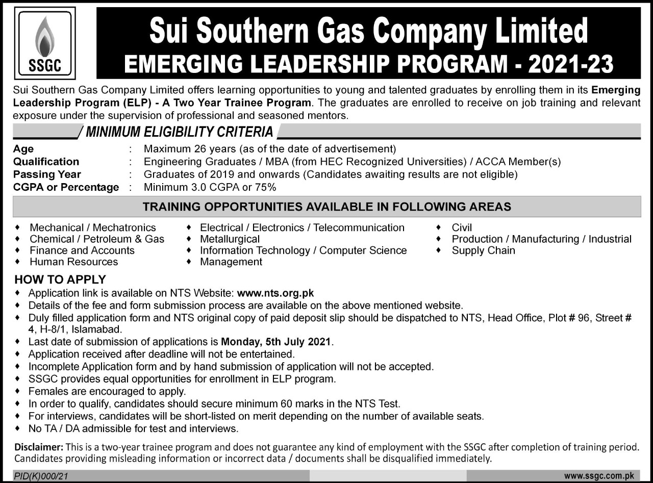 Sui Southern Gas Company Limited Trainee Program 2021-23