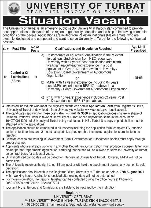 University of Turbat Jobs 2021